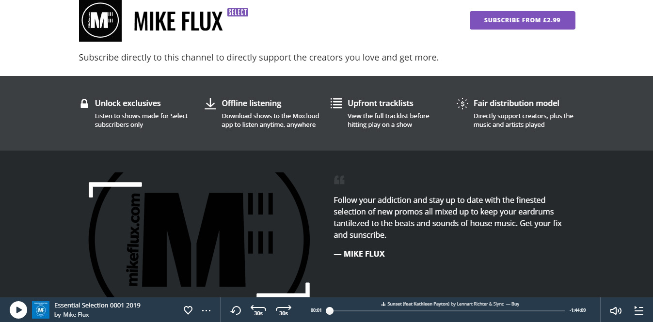 Subscribe to Mike Flux @MixcloudSelect